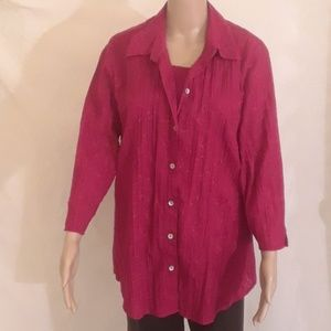 Chico's Cranberry Red Blouse and Tank Top - Size 3